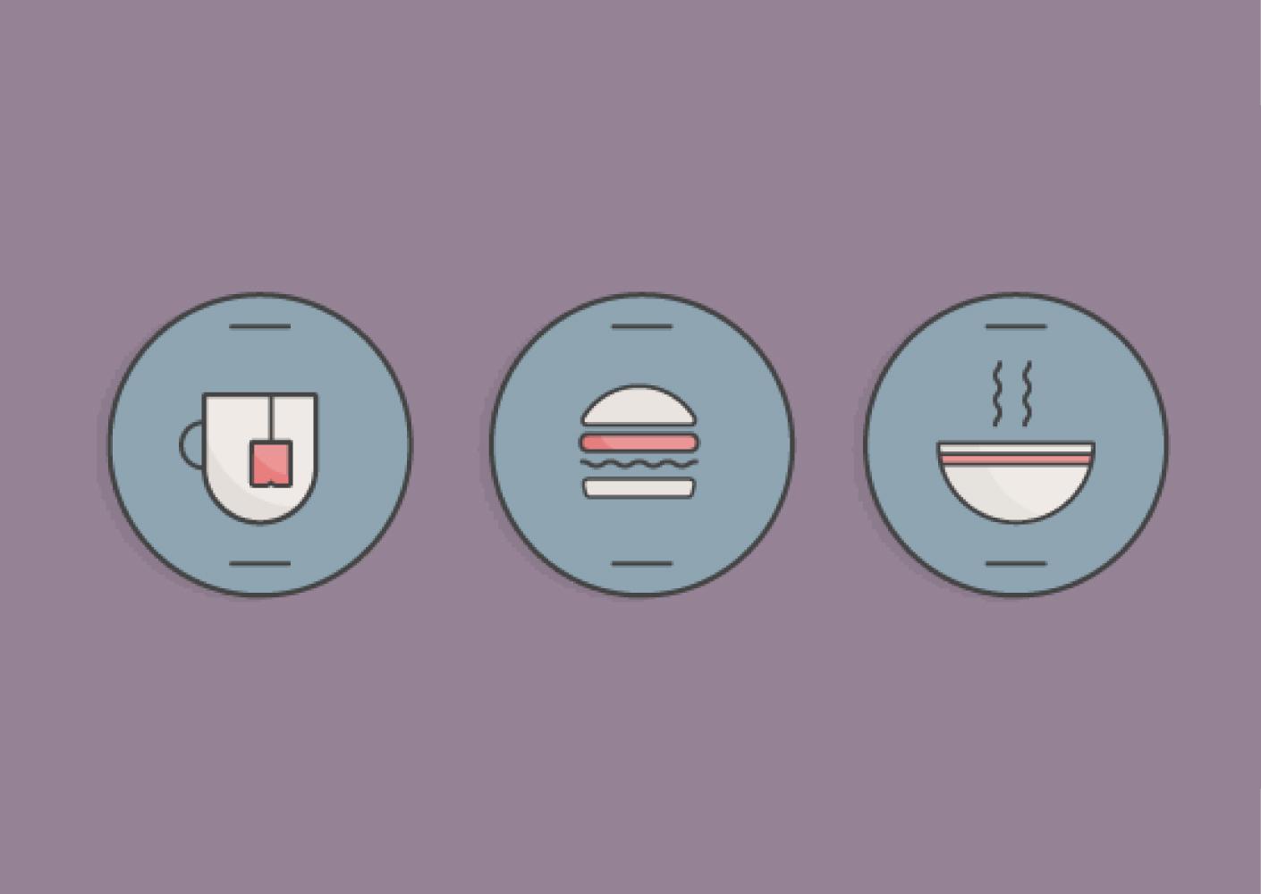 如何在Adobe Illustrator中创建一组简约风格的食物图标