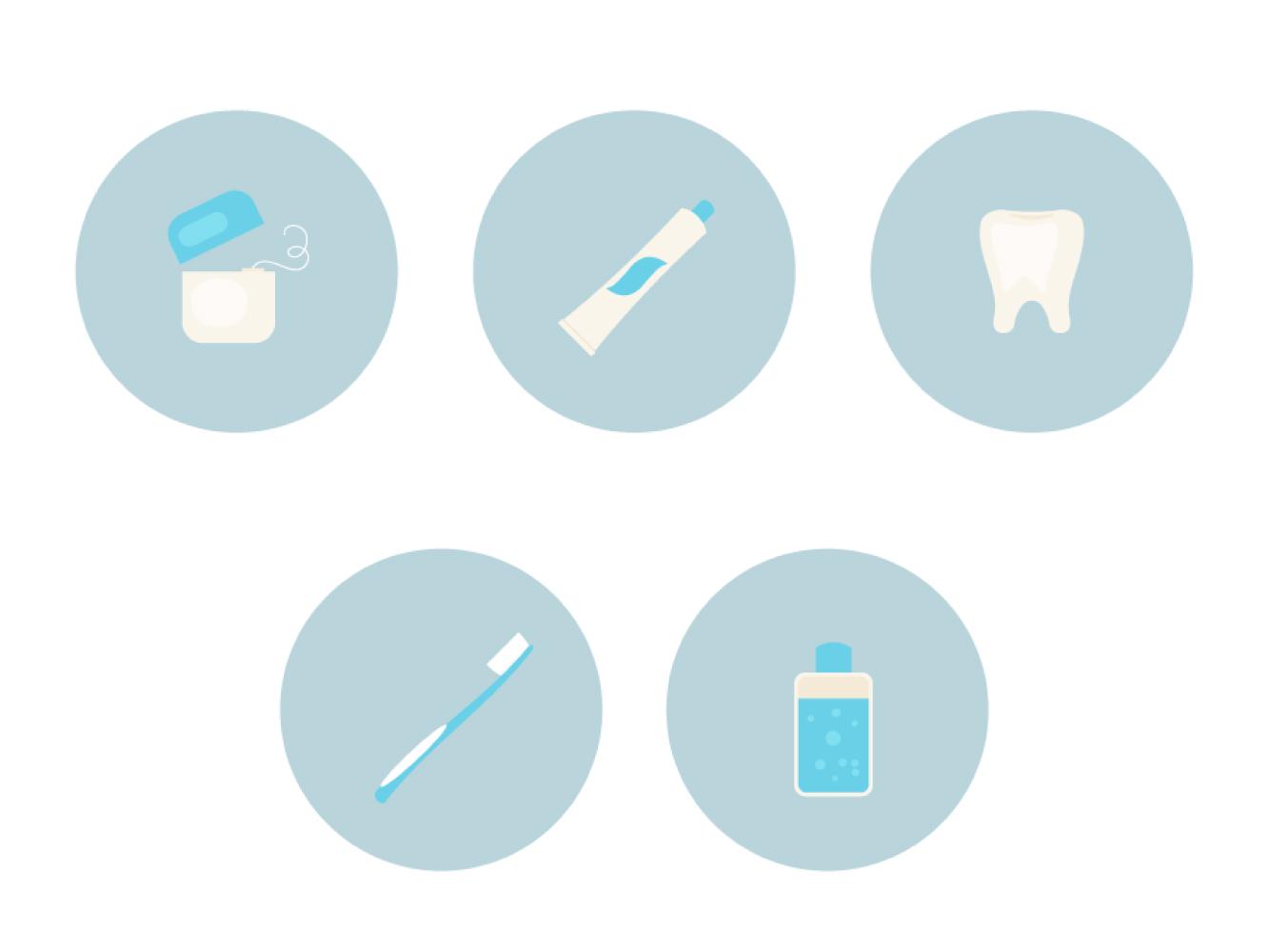 如何在Adobe Illustrator中创建一组牙齿护理主题图标
