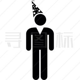 戴生日帽的男人图标