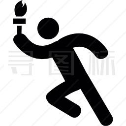 用奥运火炬奔跑的人图标