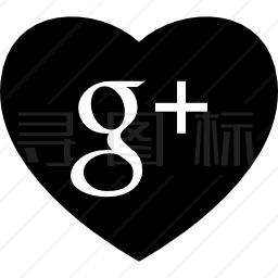 谷歌的心加上社交媒体标志图标