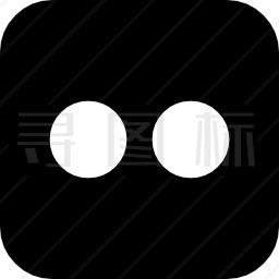 Flickr徽标在圆角方形中的两个点图标