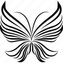 条纹翅膀轻蝴蝶美丽设计从顶视图图标