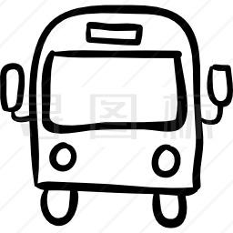 客车前手绘轮廓图标