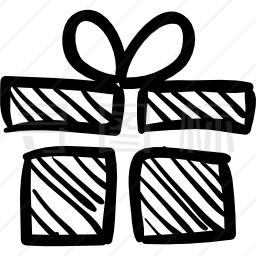 生日礼物盒草图图标