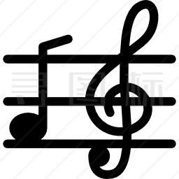 五角星高音谱号与音符图标 有svg Png Eps格式 寻图标