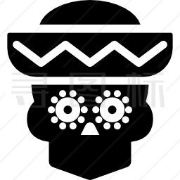 带帽子的骷髅头图标
