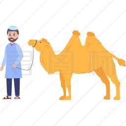 穆斯林男人与骆驼图标