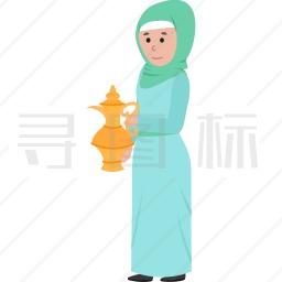 拿着水壶的穆斯林女人图标