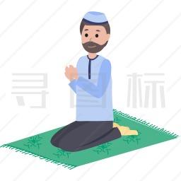 祈祷的穆斯林男人图标