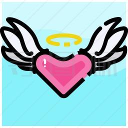 带有翅膀的心图标