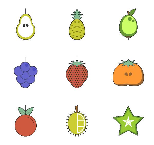 热带水果图标