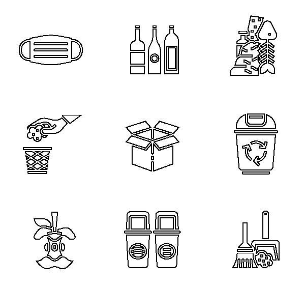垃圾分类(线性)图标