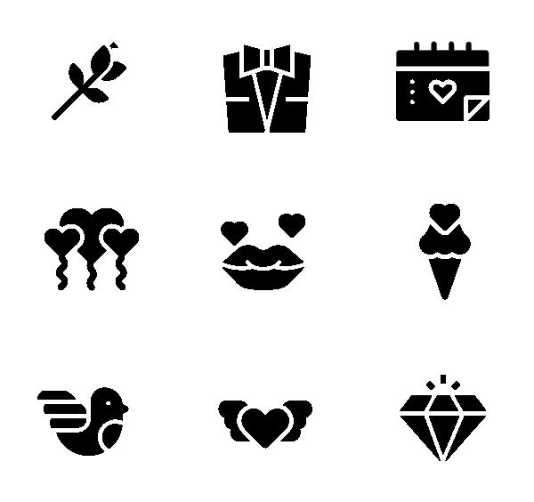 爱情(黑色填充)图标