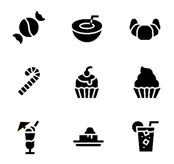 甜点糖果(黑色)图标