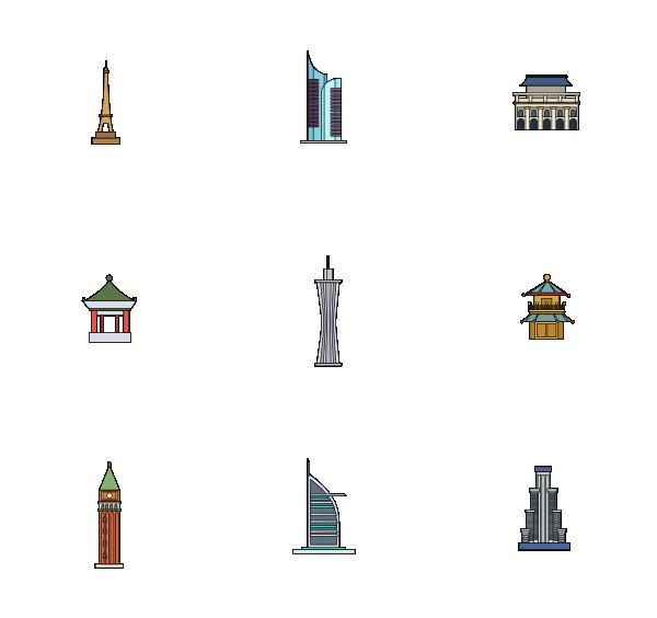 建筑物(轮廓填充图标