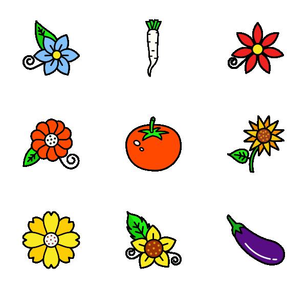 蔬菜与花朵图标